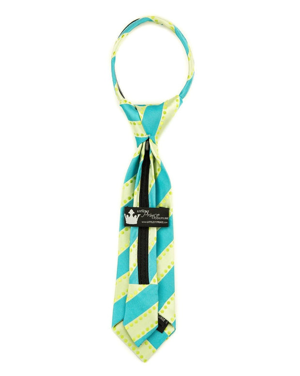 Lime and Turquoise Dots and Stripes Zipper Tie (Boys and Men)