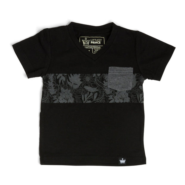 Black & Charcoal Tropical Print Tee