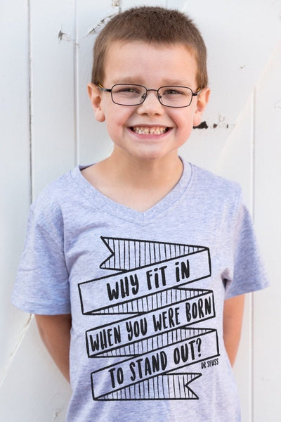 Why Fit In Gray V-Neck Tween Tee