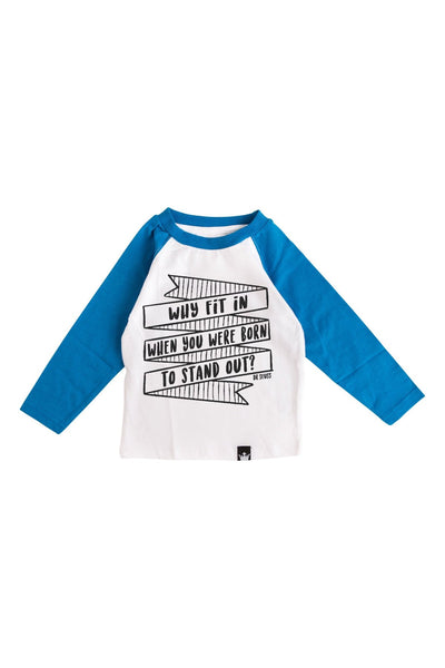 Why Fit In Royal Blue Long Sleeve Raglan Tween Tee
