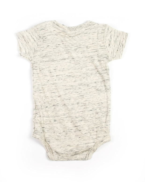 Tan Slub Knit V-Neck Bodysuit