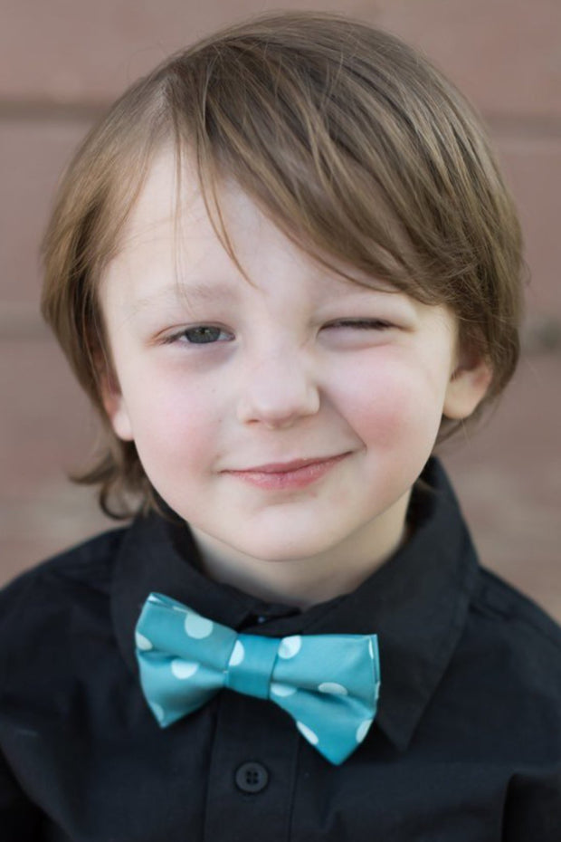 Teal Dots Bow Tie (Boys and Men)