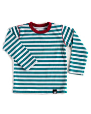 Long Sleeve Teal & White Stripe Tee