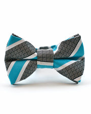 Teal and Checker Stripe Bow Tie (Boys and Men)