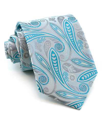 Teal and Silver Paisley Tie