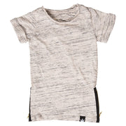 Oatmeal Slub Knit Side Zipper Tee