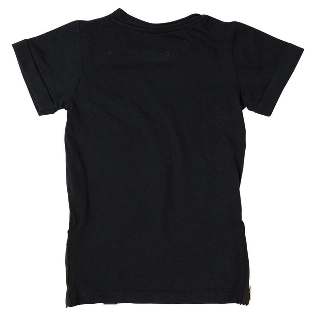 Black Side Zipper Tee