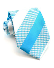 Turquoise and Marshmallow Stripe Standard Necktie