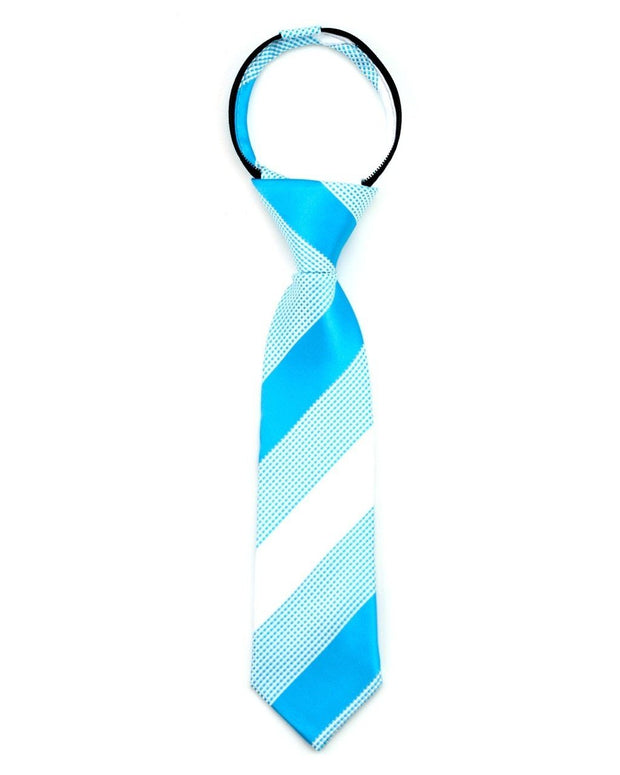 Turquoise and Marshmallow Stripe Zipper Tie