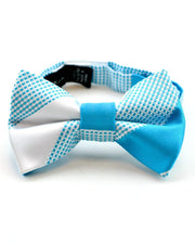 Turquoise and Marshmallow Stripe Bow Tie (Boys and Men)