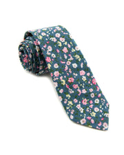 Blush and Blue Floral Standard Necktie (Adult and Youth)