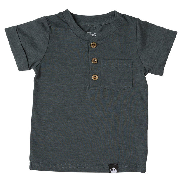 Charcoal Short Sleeve Henley Shirt