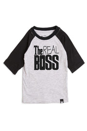 The Real Boss Gray & Black Half Sleeve Raglan Tee