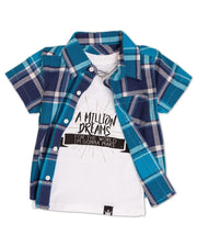 V-Neck Shirt & Button Up Bundle - Blue & White