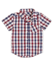V-Neck Shirt & Button Up Bundle - Red & Navy