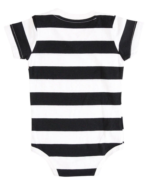 Black & White Stripe V-Neck Pocket Bodysuit