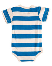 Oatmeal & Blue Stripe V-Neck Pocket Bodysuit