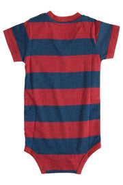 Red & Navy Stripe V-Neck Pocket Bodysuit