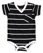 Thick Black Stripe V-Neck Pocket Bodysuit