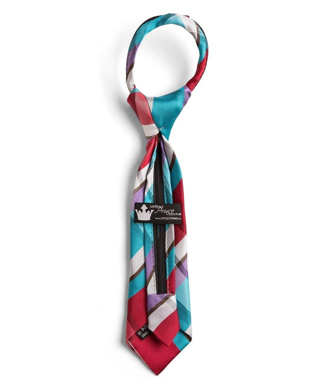 Turquoise and Cherry Plaid Zipper Tie (Boys and Men)