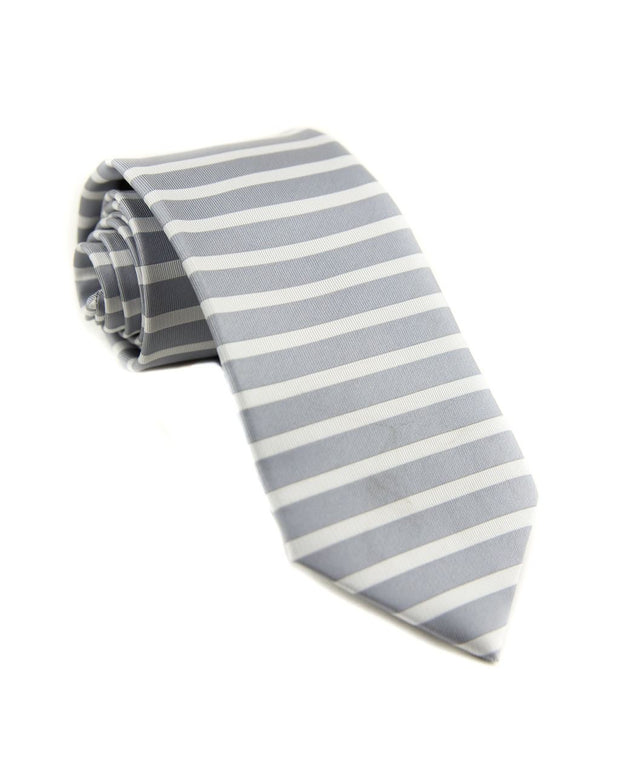 Platinum and White Horizontal Stripe Standard Necktie (Adult and Youth)