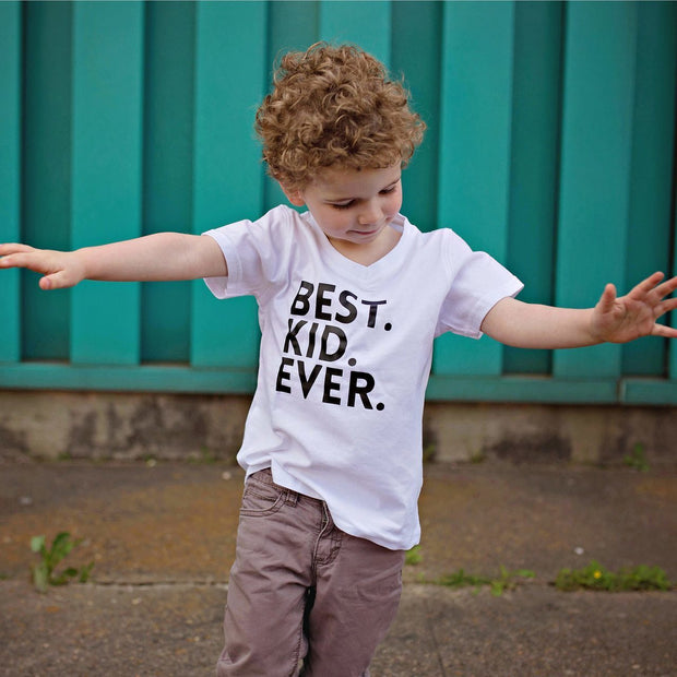 Best Kid Ever White V-Neck Tee