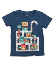 Kid's Play Mat Shirt - Urban Town - Navy Crew