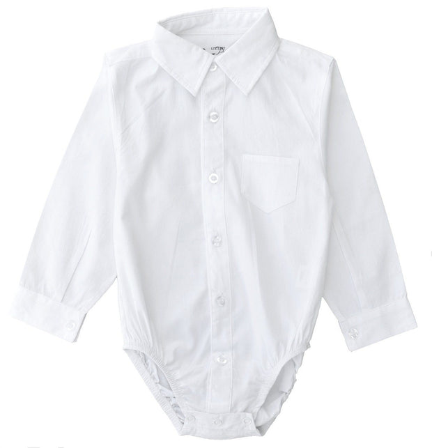 Long Sleeve White Dress Shirt Bodysuit