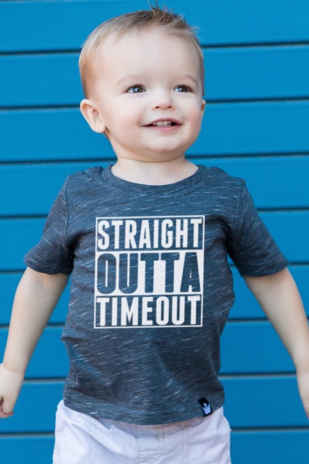 Straight Outta Timeout Charcoal Crew Tee