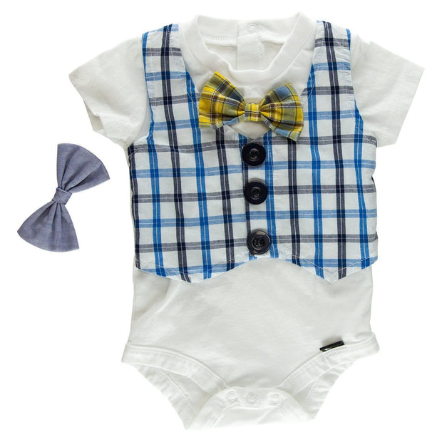 Blue Plaid Faux Vest Bodysuit with Interchangeable Bow Ties