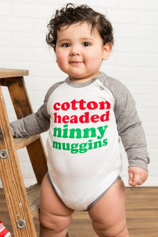 Cotton Headed Ninny Muggins Gray Raglan Bodysuit