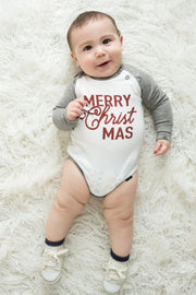 Merry CHRISTmas Gray Raglan Bodysuit