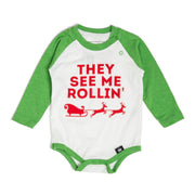 They See Me Rollin' Kelly Green Raglan Bodysuit