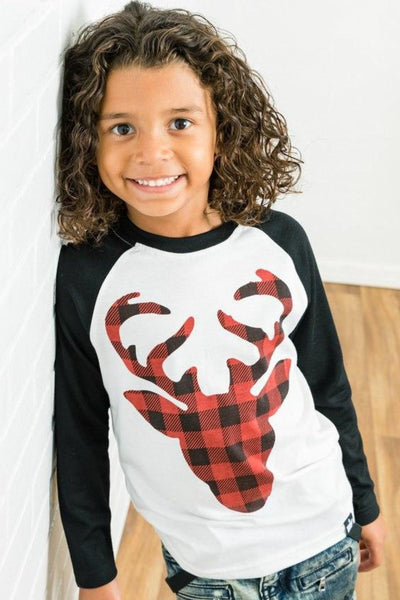 Buffalo Check Reindeer Black Raglan Shirt