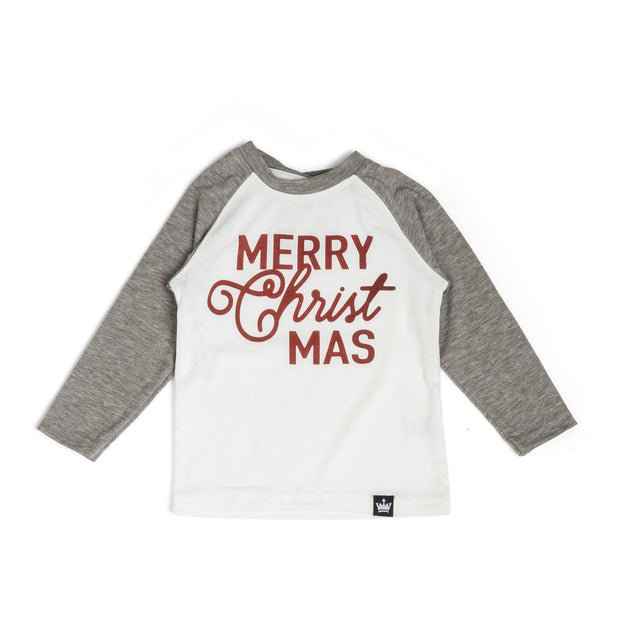 Merry CHRISTmas Gray Raglan Shirt
