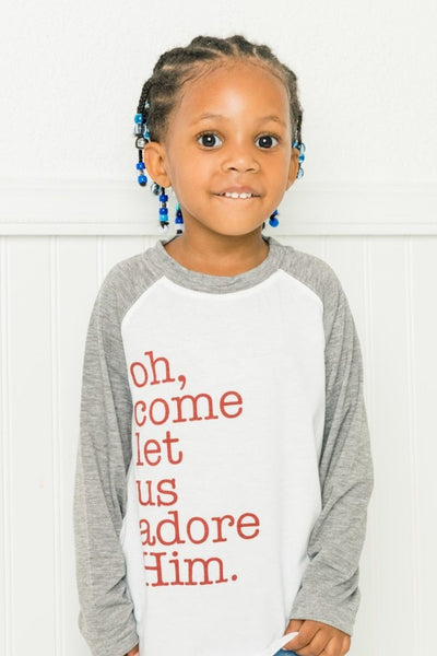 Oh Come Let Us Adore Him Gray Raglan Shirt