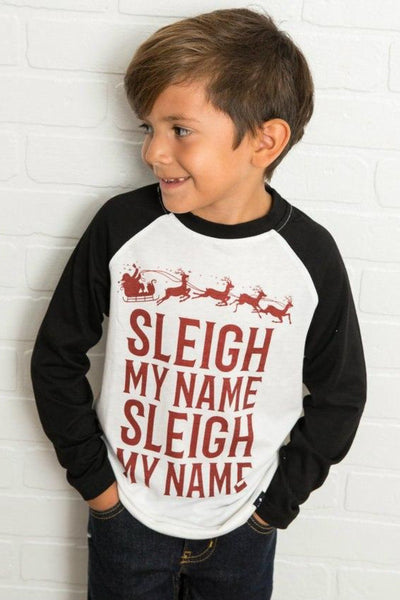 Sleigh My Name Black Raglan Shirt