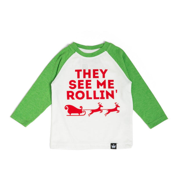 They See Me Rollin' Kelly Green Raglan Shirt