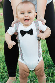 Gray Plaid Faux Suspender Bodysuit with Interchangeable Bow Ties