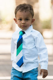 Royal and Emerald Stripe Zipper Tie (Boys and Men)