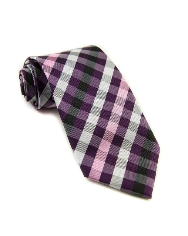 Boysenberry Check Standard Necktie (Adult and Youth)