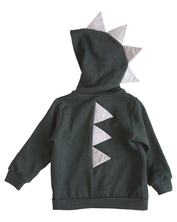 Charcoal & Gray Dino Zip Up Hoodie