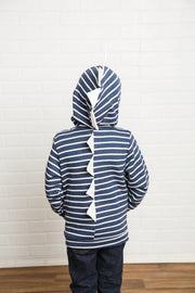 Navy & Cream Stripe Zip Up Dino Sweatshirt Hoodie