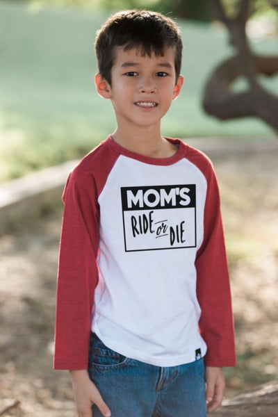 Mom's Ride or Die Red Long Sleeve Raglan Tee