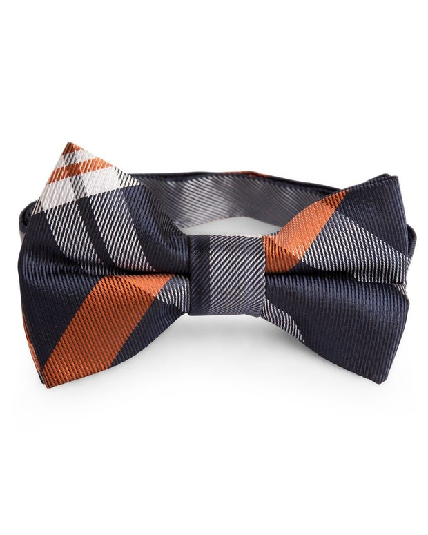 Pumpkin and Navy Plaid Bow Tie (Boys and Men)