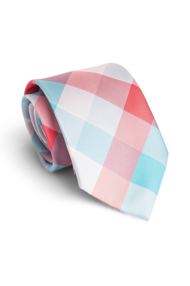 Aqua and Coral Check Tie