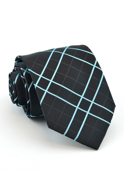 Aqua and Black Plaid Tie