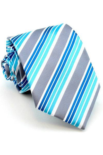 Aqua and Gray Stripe Tie