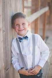 Aqua and Navy Stripe Bow Tie (Boys and Men)