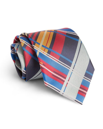 Scarlet and Navy Plaid Standard Necktie (Adult and Youth)